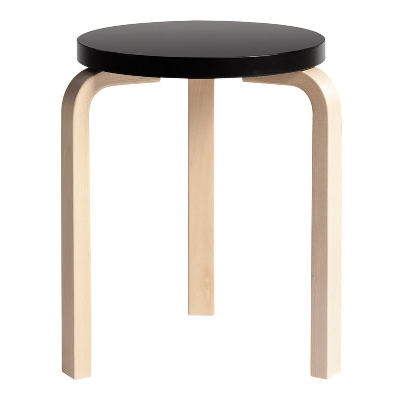 Fabulous Aalto Stool 60 Black Birch Creativecarmelina Interior Chair Design Creativecarmelinacom