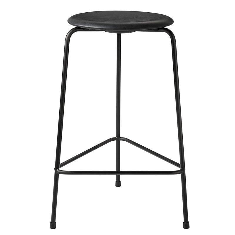 Fritz Hansen Dot high stool, black leather - black