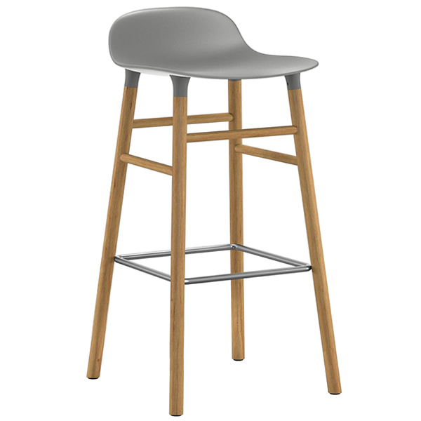 Normann Copenhagen Form barstool 75 cm, grey - oak