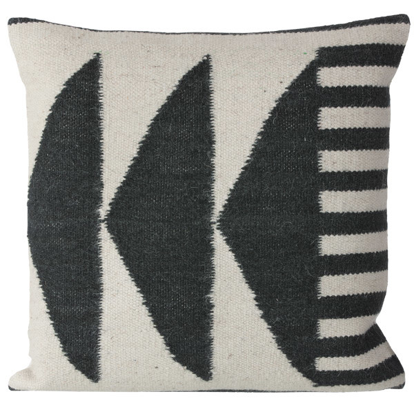 Ferm Living Kelim cushion, Black Triangles