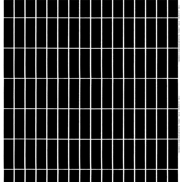 Marimekko Tiiliskivi kangas, musta - valkoinen