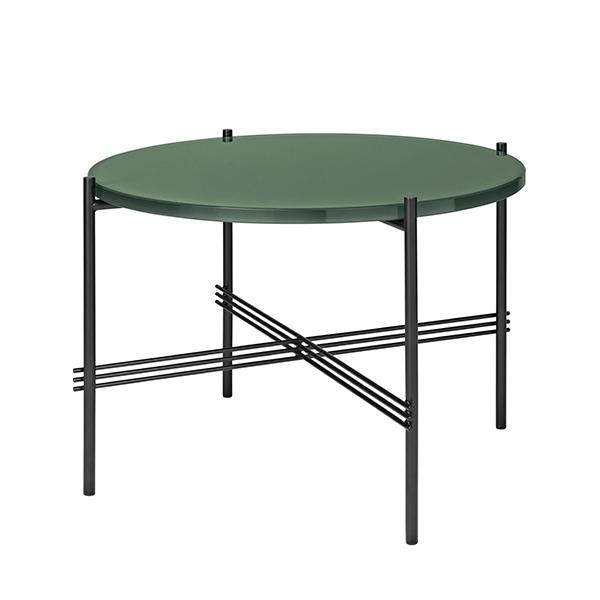 Gubi TS coffee table, 55 cm, black - green glass