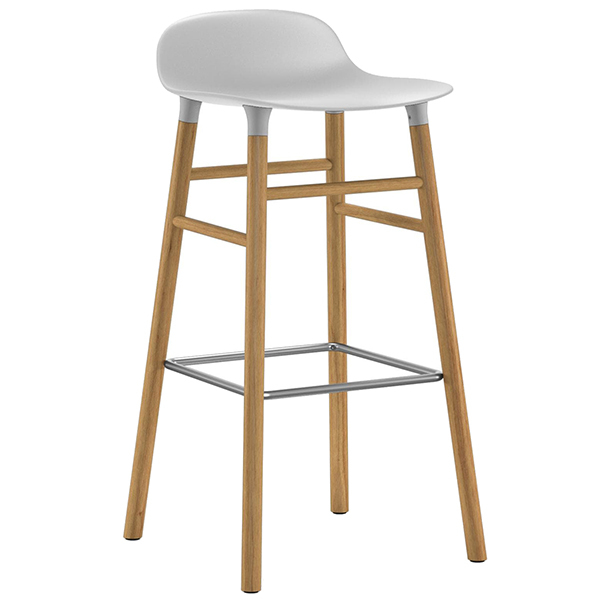 Normann Copenhagen Form barstool 75 cm, white - oak