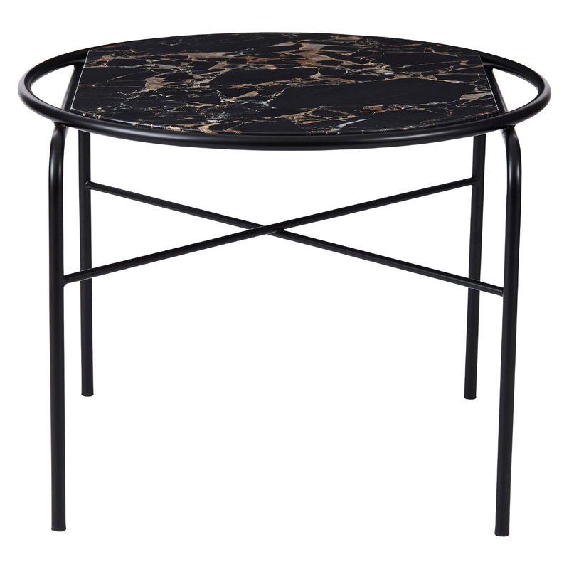 Warm Nordic Secant coffee table, round, black gold marble