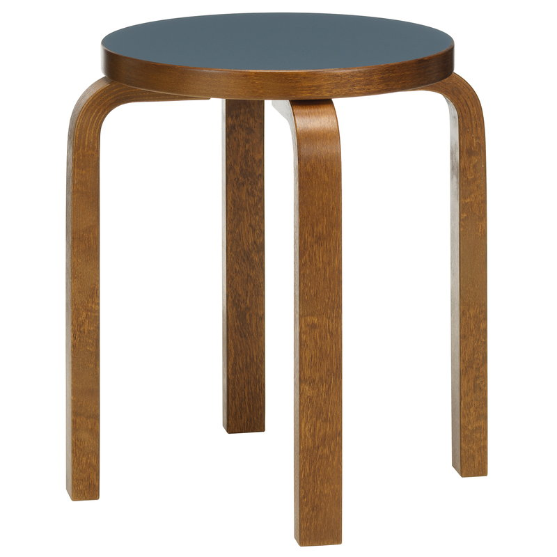 Artek Aalto stool E60, smokey blue - walnut