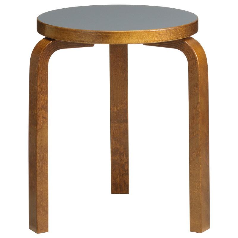 Artek Aalto stool 60, pewter linoleum - walnut