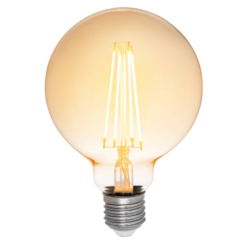 Airam LED Decor Amber Globe G95 bulb 5W E27 380lm, dimmable