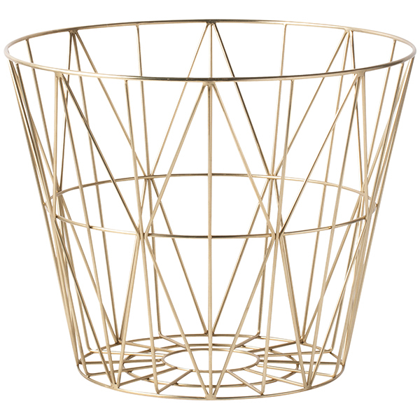 Ferm Living Wire basket, brass, large