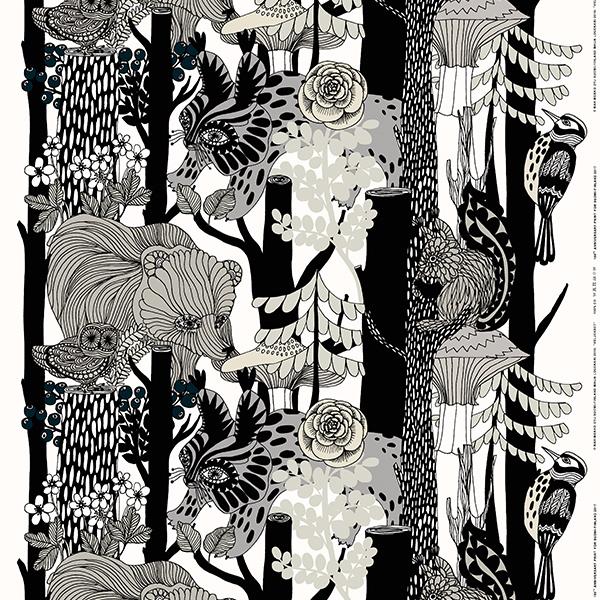Marimekko Veljekset fabric, grey