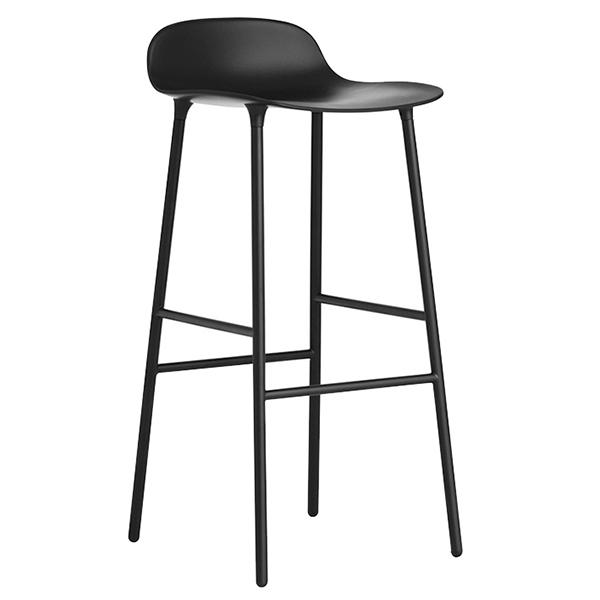 Normann Copenhagen Form barstool 75 cm, steel base, black
