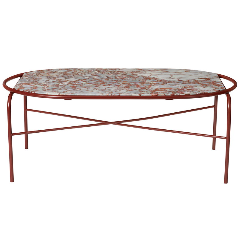 Warm Nordic Secant coffee table, oval, red marble