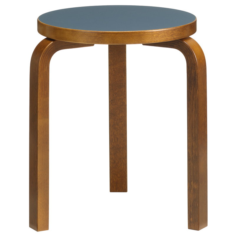 Artek Aalto stool 60, smokey blue - walnut