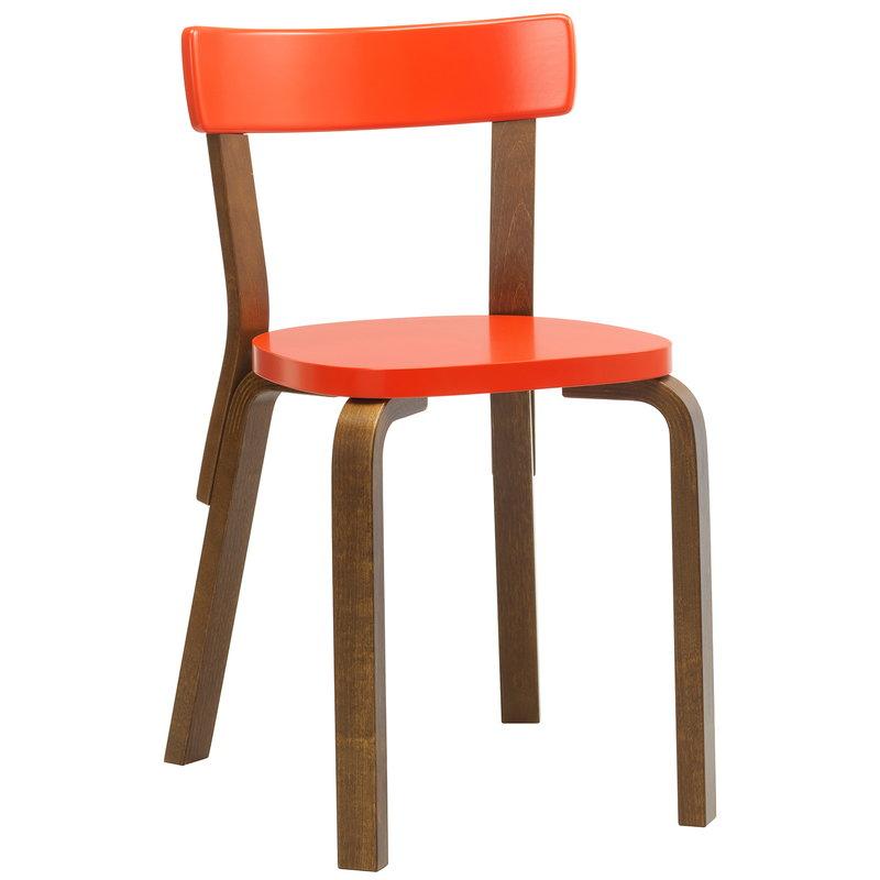 Artek Aalto chair 69, bright red - walnut