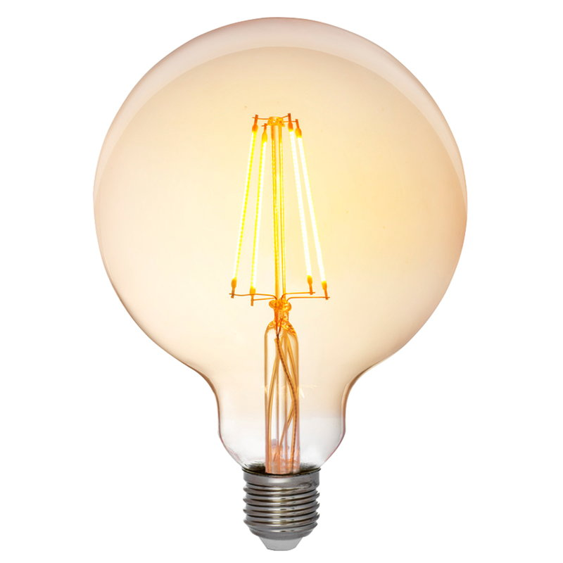 Airam LED Decor Amber Globe G125 bulb 5W E27 380lm, dimmable
