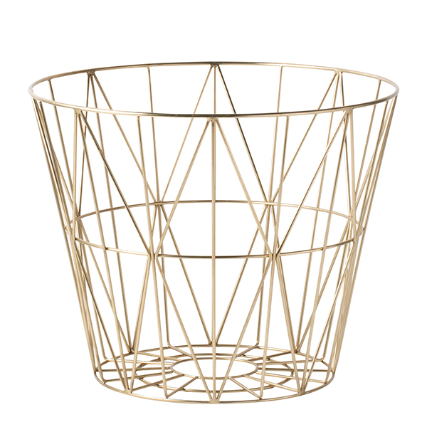 Ferm Living Wire basket, brass, medium