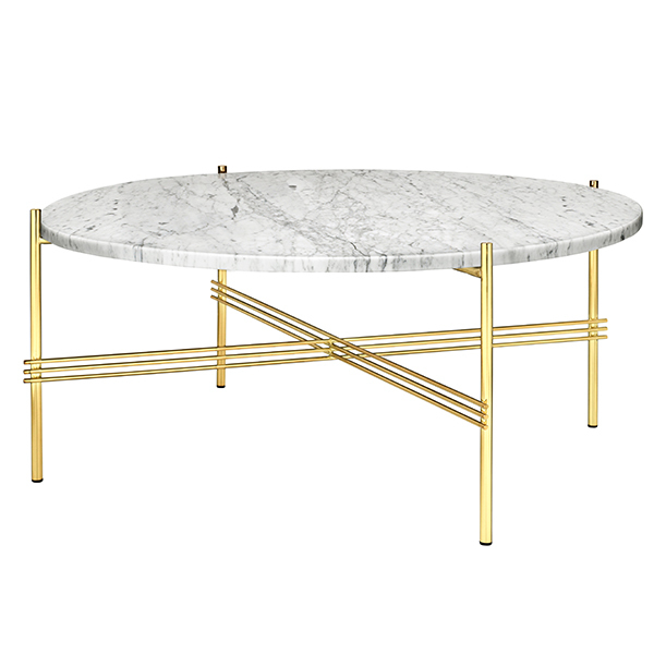Gubi TS coffee table, 80 cm, brass - white marble