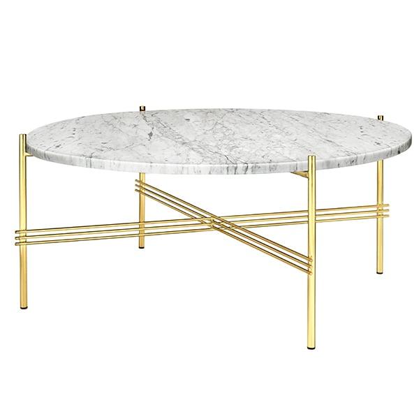 Gubi TS sohvapöytä, 80 cm, messinki - valkoinen marmori