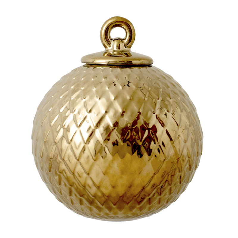 Lyngby Porcelain Rhombe porcelain bauble, gold