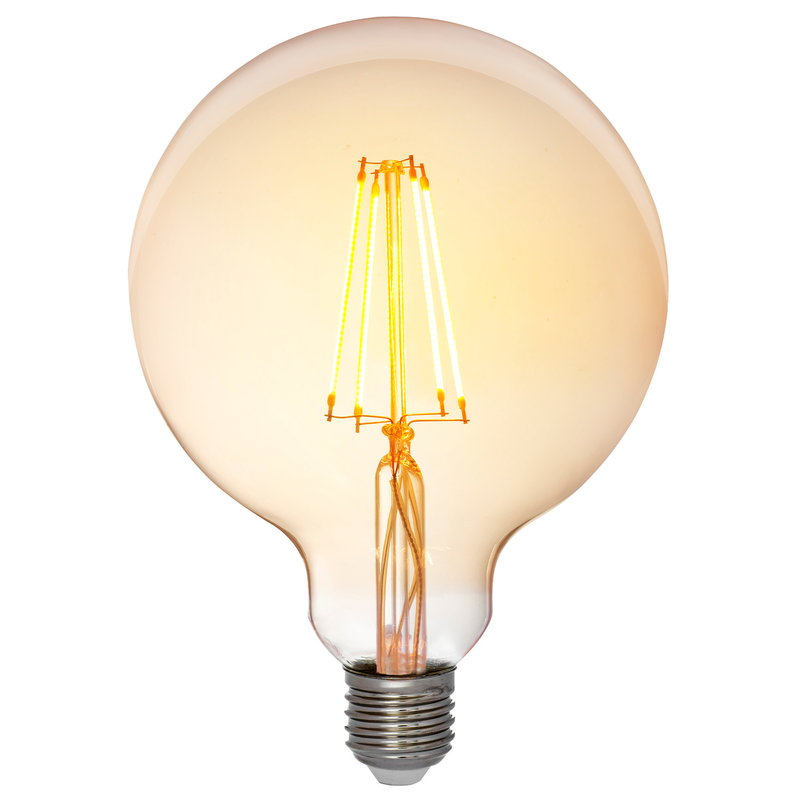 Airam LED Decor Amber Globe G125 bulb 5W E27 250lm, dimmable