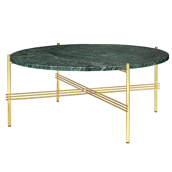 TS Coffee Table, 80 Cm, Brass   Green Marble