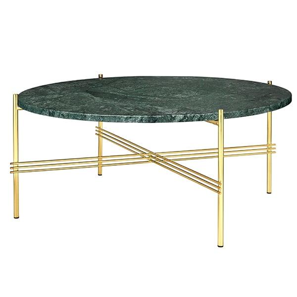 Gubi TS sohvapöytä, 80 cm, messinki - vihreä marmori
