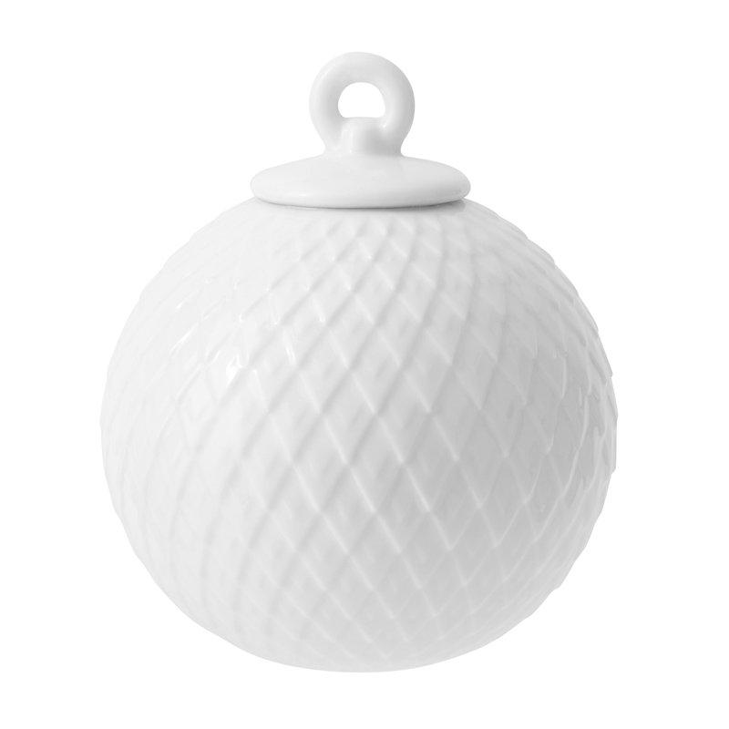 Lyngby Porcelain Rhombe porcelain bauble, white