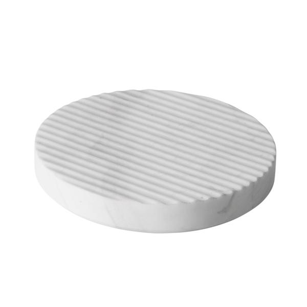 Muuto Groove marble trivet, small, white