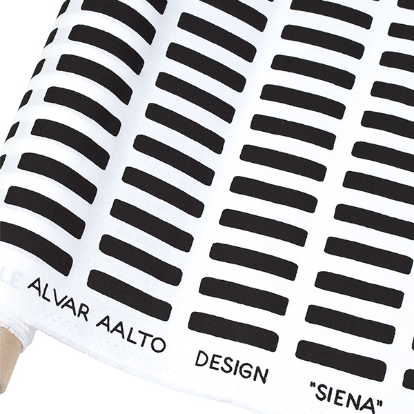 Artek Siena canvas cotton fabric 150 x 300cm, white-black