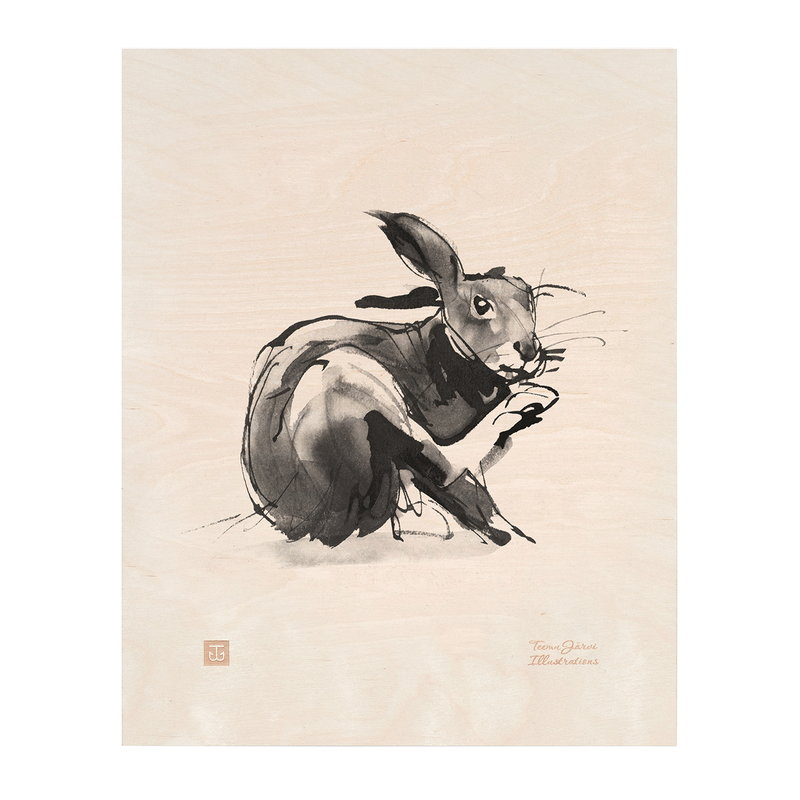 Teemu Järvi Illustrations European Hare plywood poster