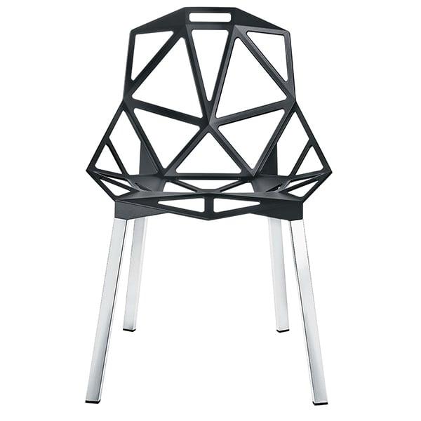 Magis Chair One, anthracite, polished aluminium legs