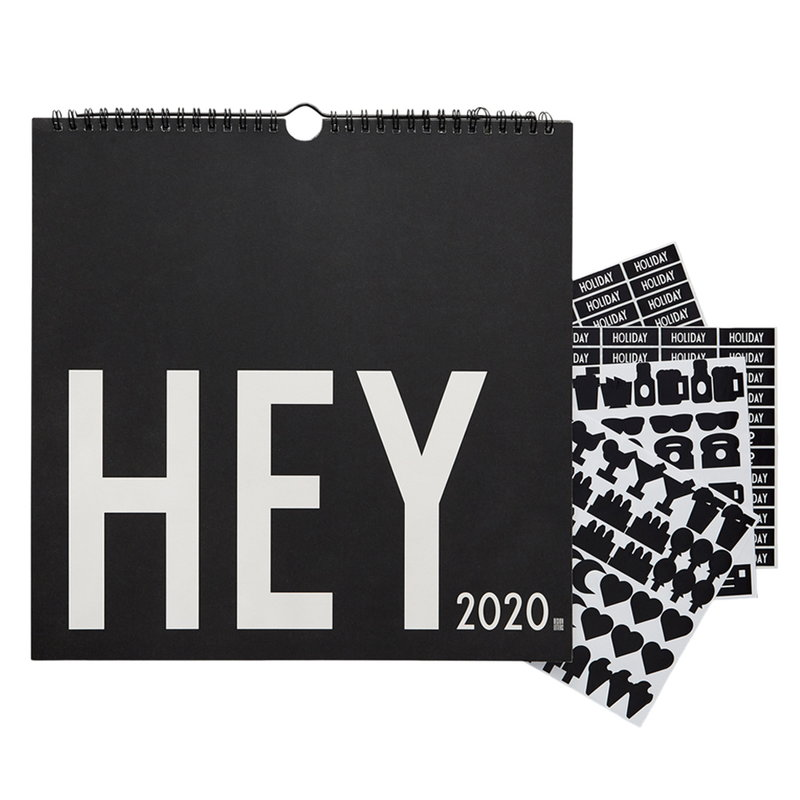 Design Letters Seinäkalenteri 2020, musta