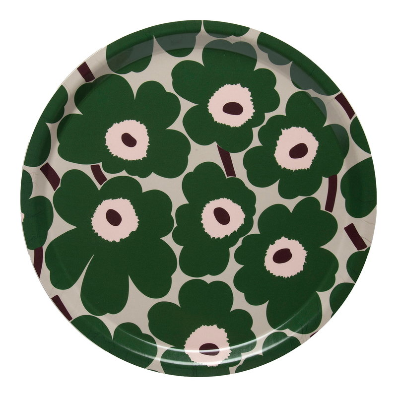 Marimekko Mini Unikko tray, beige - green - peach