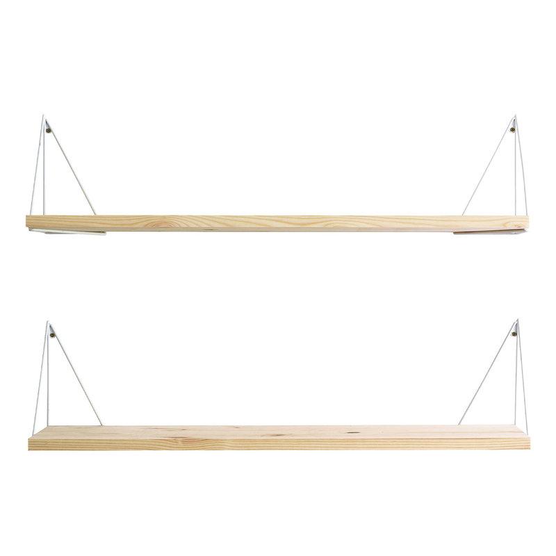 Maze Pythagoras Play shelf with brackets, 2 pcs, pine - white