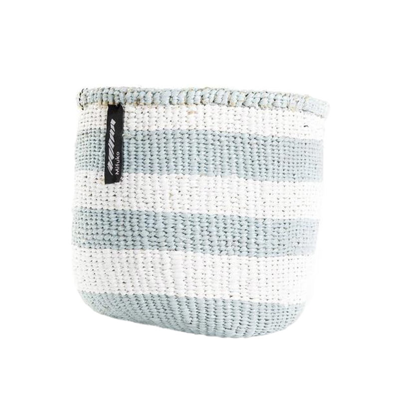Mifuko Kiondo basket XS, stripes, white - light blue