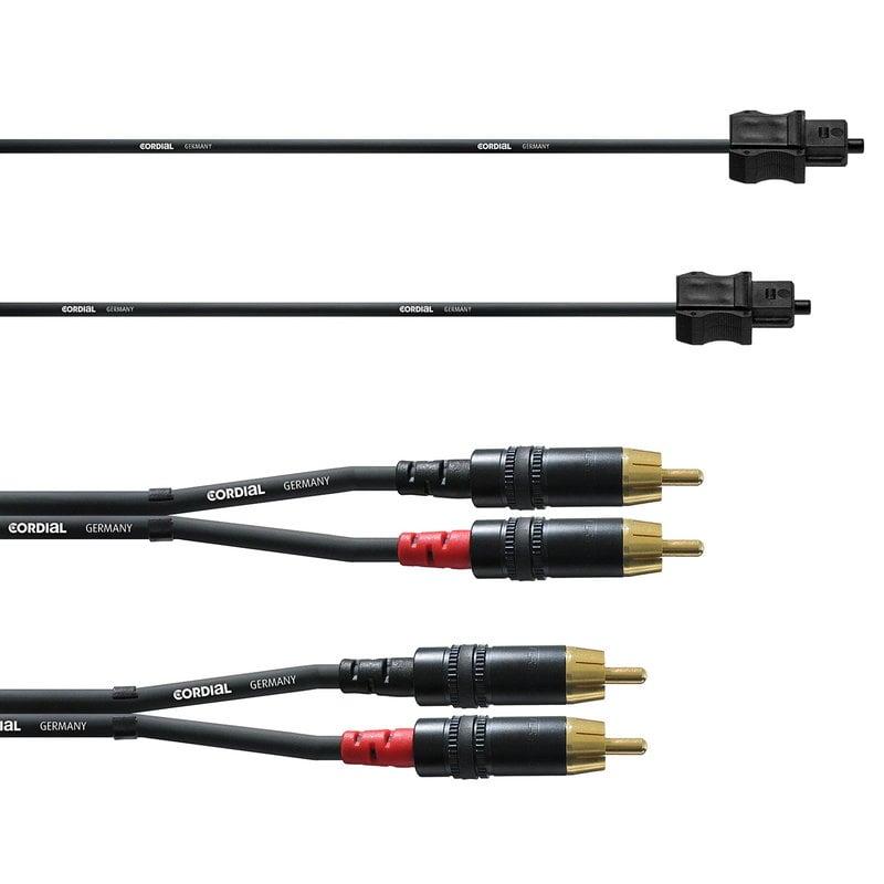 Cordial RCA/Toslink cable set for subwoofer, 3 m, black