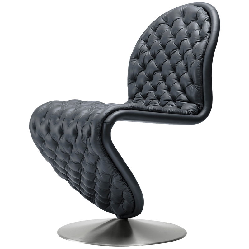 Verpan System 1-2-3 Deluxe chair, black leather