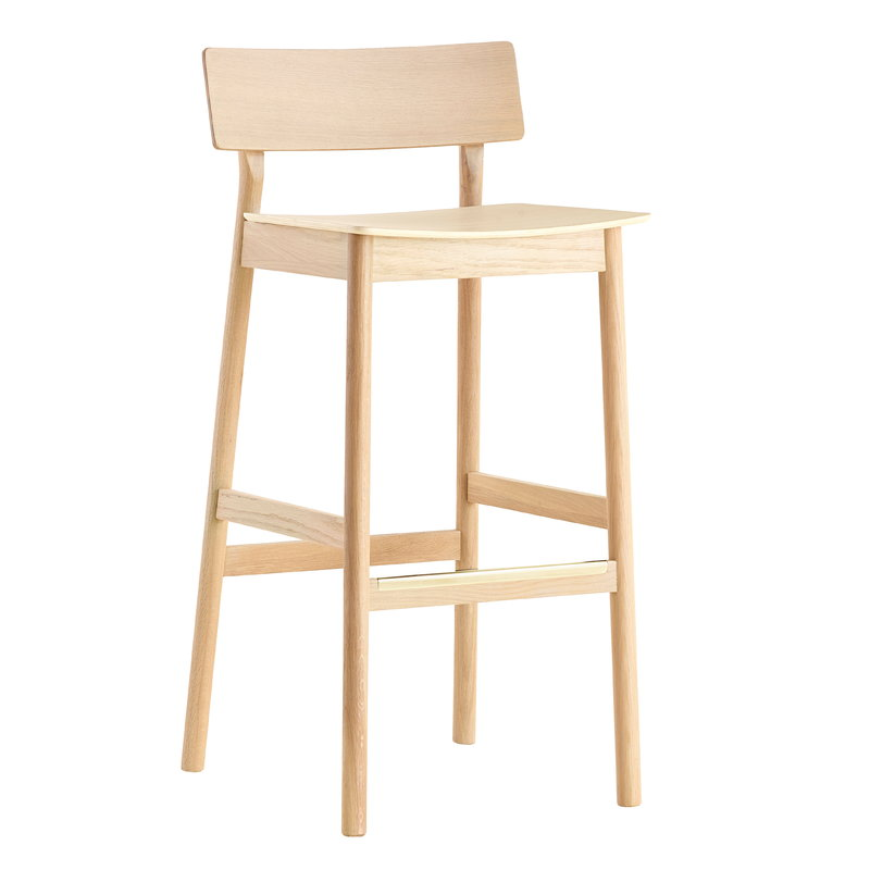 Woud Pause bar stool 65 cm, white pigmented oak