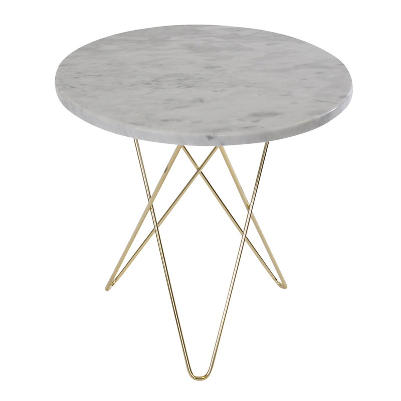 OX Denmarq Tall Mini O table, brass - white marble