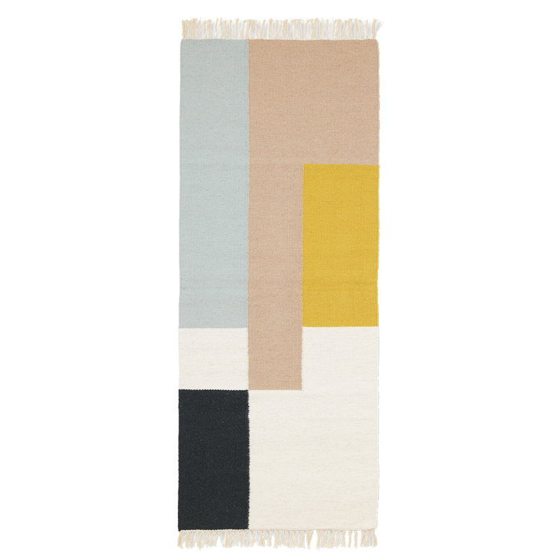 Ferm Living Kelim käytävämatto, Squares, 180 x 70 cm