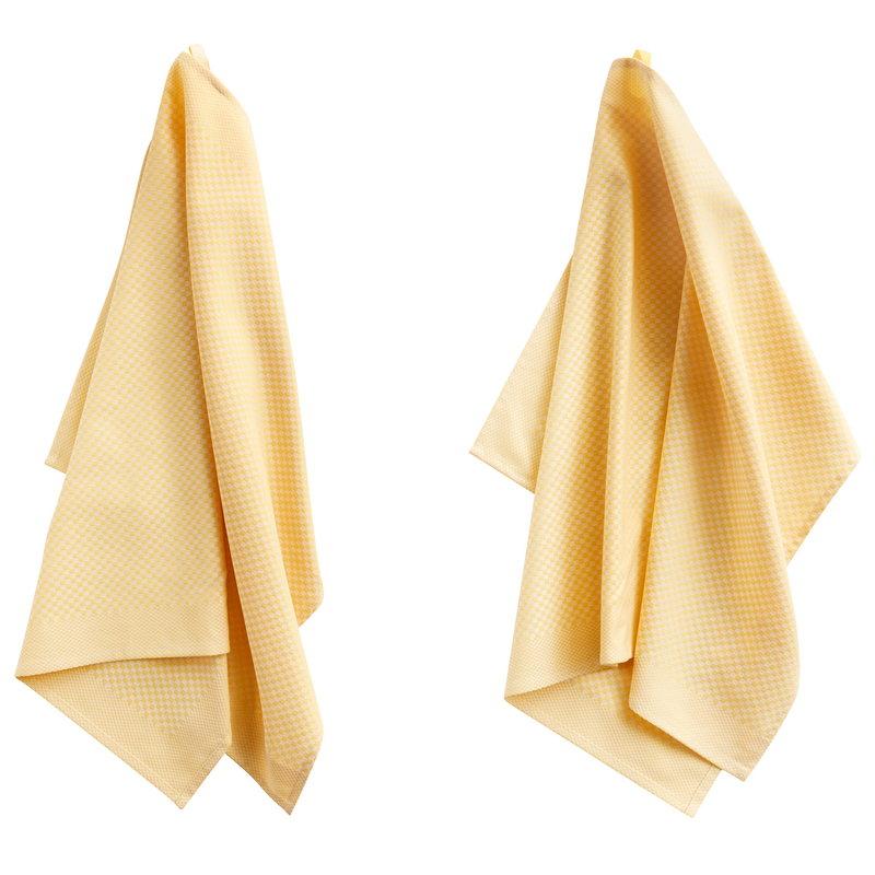 Hay Strofinaccio Check, set di 2, giallo