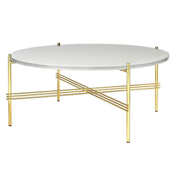 Gubi TS sohvapöytä, 80 cm, messinki - valkoinen lasi