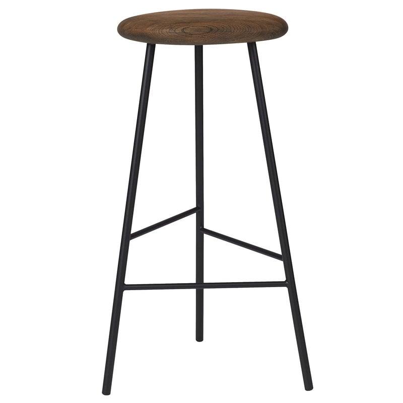 Warm Nordic Pebble bar stool, 75 cm, smoked oak - black