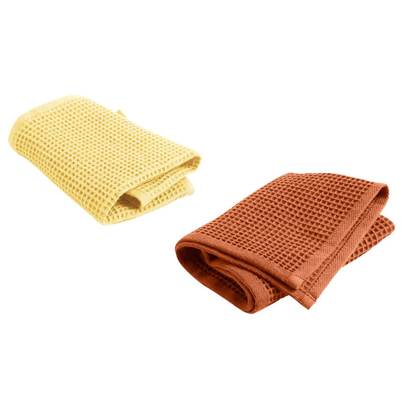 Hay Waffle tea towel, 2 pcs, terracotta - yellow