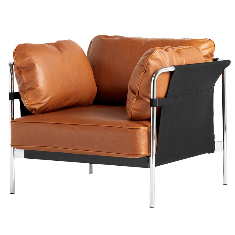 Hay Can lounge chair, cognac leather - black canvas - chrome frame