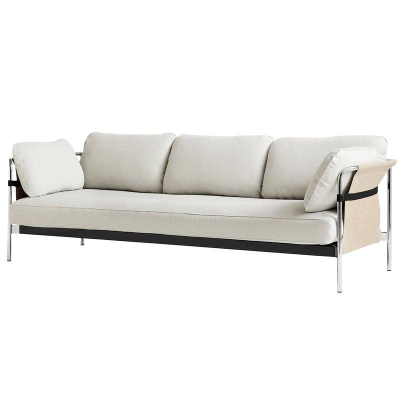 Hay Can sohva, 3-istuttava, Linara 331 - vaalea canvas - kromijalat
