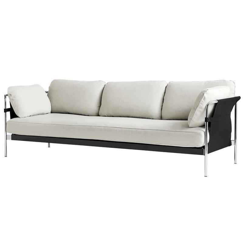 Hay Can sohva, 3-istuttava, Ruskin 05 - musta canvas - kromijalat