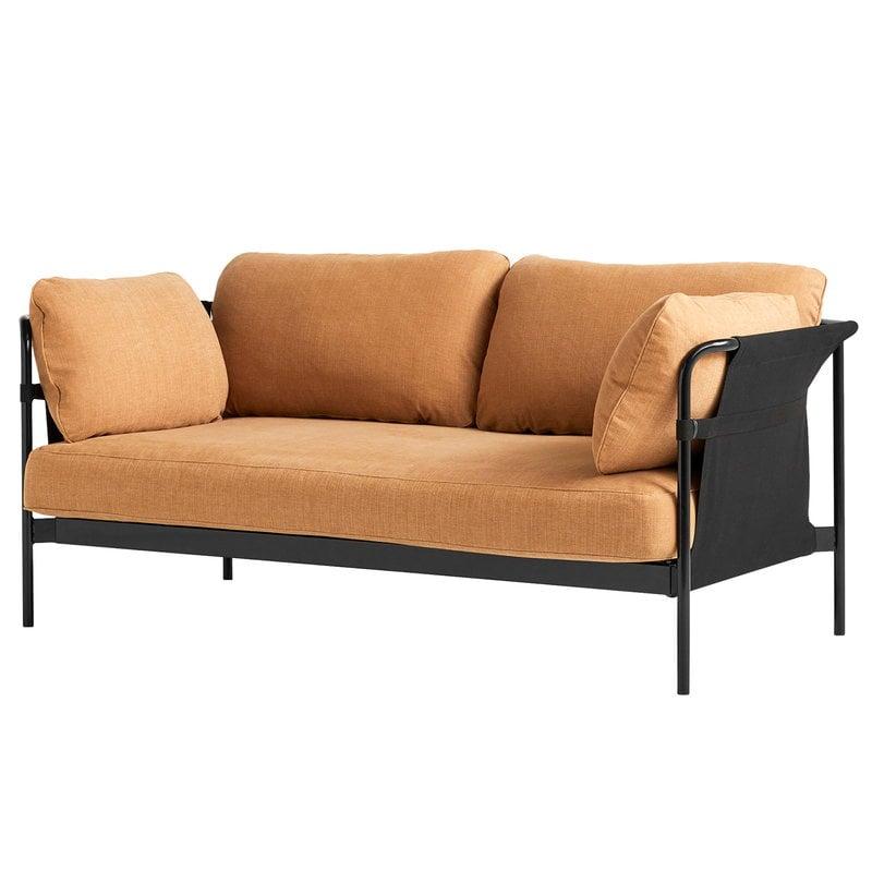 Hay Can sohva, 2-istuttava, Linara 142 - musta canvas - mustat jalat