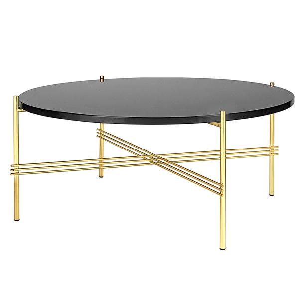 Gubi TS Coffee Table, 80 Cm, Brass - Black Glass