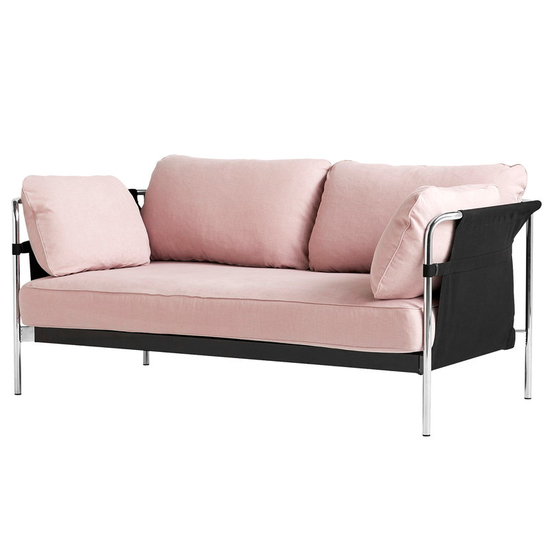 Hay Can sofa, 2-seater, Linara 415 - black canvas - chrome frame