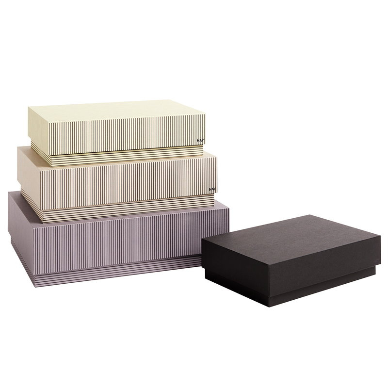 Hay Box Box storage boxes 4 pcs, stripe grey